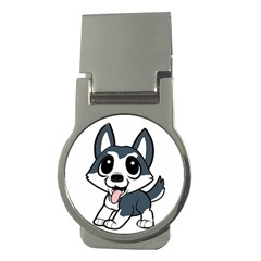 Pomsky Cartoon Money Clips (Round)