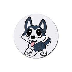 Pomsky Cartoon Rubber Round Coaster (4 pack)