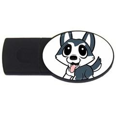 Pomsky Cartoon USB Flash Drive Oval (2 GB)