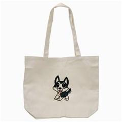 Pomsky Cartoon Tote Bag (Cream)