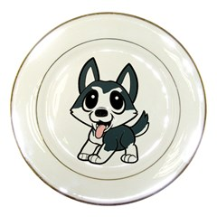 Pomsky Cartoon Porcelain Plates