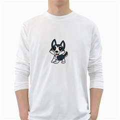Pomsky Cartoon White Long Sleeve T-Shirts
