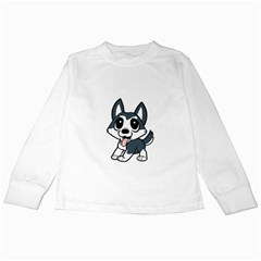 Pomsky Cartoon Kids Long Sleeve T-Shirts