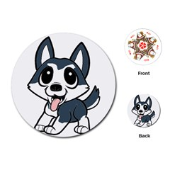 Pomsky Cartoon Playing Cards (Round)