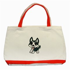 Pomsky Cartoon Classic Tote Bag (Red)