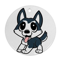 Pomsky Cartoon Round Ornament (Two Sides)