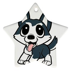 Pomsky Cartoon Star Ornament (Two Sides)