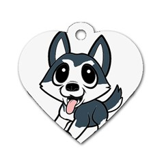 Pomsky Cartoon Dog Tag Heart (One Side)