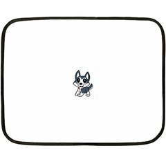 Pomsky Cartoon Double Sided Fleece Blanket (Mini)