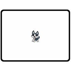 Pomsky Cartoon Fleece Blanket (Large)
