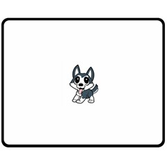 Pomsky Cartoon Fleece Blanket (Medium)
