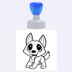 Pomsky Cartoon Rubber Round Stamps (Large)