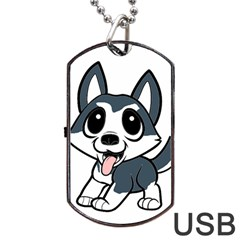 Pomsky Cartoon Dog Tag USB Flash (One Side)