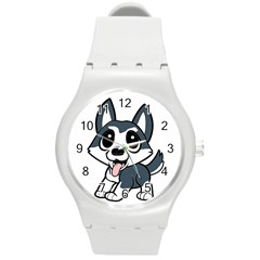 Pomsky Cartoon Round Plastic Sport Watch (M)