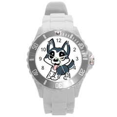Pomsky Cartoon Round Plastic Sport Watch (L)