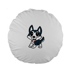 Pomsky Cartoon Standard 15  Premium Round Cushions