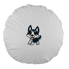 Pomsky Cartoon Large 18  Premium Round Cushions