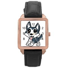 Pomsky Cartoon Rose Gold Leather Watch