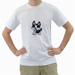 Pomsky Cartoon Men s T-Shirt (White)