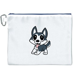 Pomsky Cartoon Canvas Cosmetic Bag (XXXL)