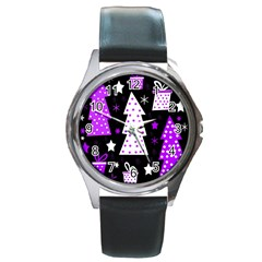 Purple Playful Xmas Round Metal Watch
