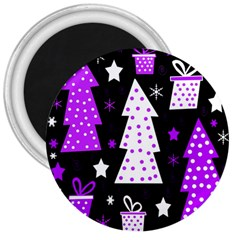 Purple Playful Xmas 3  Magnets