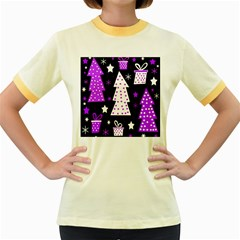 Purple Playful Xmas Women s Fitted Ringer T-Shirts
