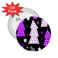 Purple Playful Xmas 2.25  Buttons (100 pack)