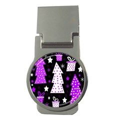 Purple Playful Xmas Money Clips (Round)