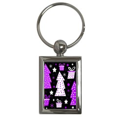 Purple Playful Xmas Key Chains (Rectangle)