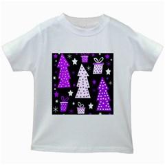 Purple Playful Xmas Kids White T-Shirts