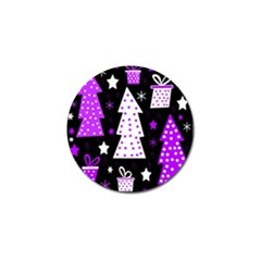 Purple Playful Xmas Golf Ball Marker (4 pack)