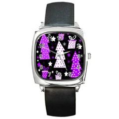Purple Playful Xmas Square Metal Watch