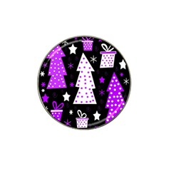 Purple Playful Xmas Hat Clip Ball Marker (4 pack)