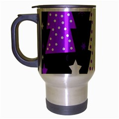 Purple Playful Xmas Travel Mug (Silver Gray)