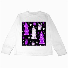 Purple Playful Xmas Kids Long Sleeve T-Shirts