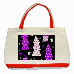 Purple Playful Xmas Classic Tote Bag (Red)
