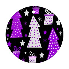 Purple Playful Xmas Round Ornament (Two Sides)