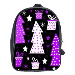 Purple Playful Xmas School Bags(Large)