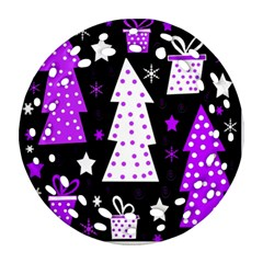 Purple Playful Xmas Ornament (Round Filigree)