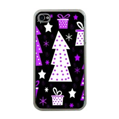 Purple Playful Xmas Apple iPhone 4 Case (Clear)