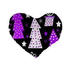 Purple Playful Xmas Standard 16  Premium Heart Shape Cushions
