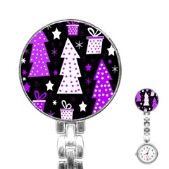 Purple Playful Xmas Stainless Steel Nurses Watch