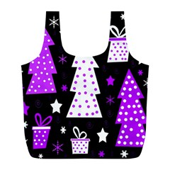 Purple Playful Xmas Full Print Recycle Bags (l)