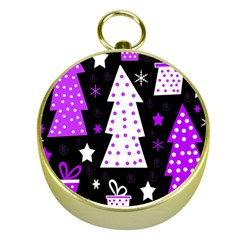 Purple Playful Xmas Gold Compasses