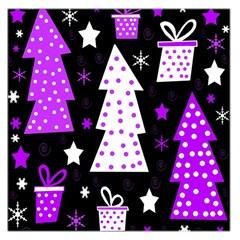 Purple Playful Xmas Large Satin Scarf (Square)