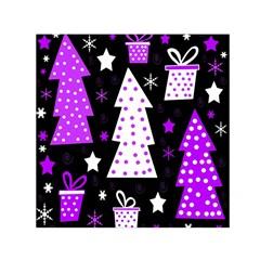 Purple Playful Xmas Small Satin Scarf (Square)