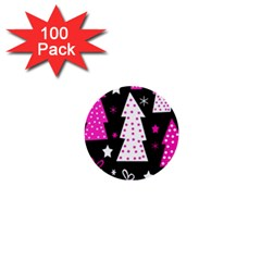 Pink playful Xmas 1  Mini Buttons (100 pack)