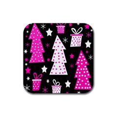 Pink playful Xmas Rubber Square Coaster (4 pack)