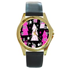 Pink playful Xmas Round Gold Metal Watch